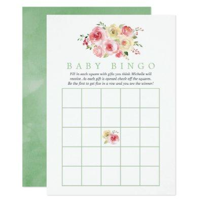 Floral Blush and Sage Baby Shower Baby Bingo Invitations