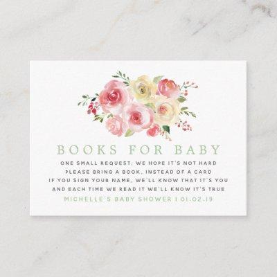 Floral Blush and Sage Baby Shower Book Request Enclosure Invitations