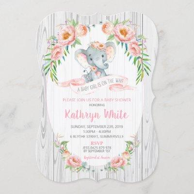 Floral Boho Elephant Baby Shower Invitation Girl