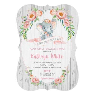 Floral Boho Elephant Baby Shower Invitation Girl