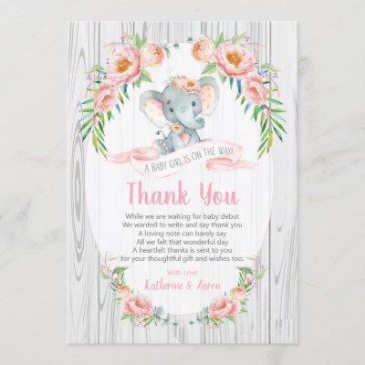 Floral Boho Elephant Baby Shower Thank You Card