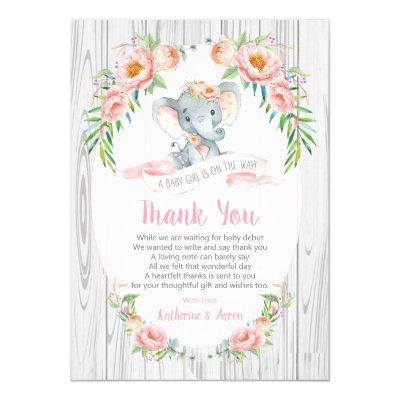 Floral Boho Elephant Baby Shower Thank You Card