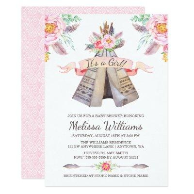 Floral Boho Tribal Teepee Girl Baby Shower Invitation