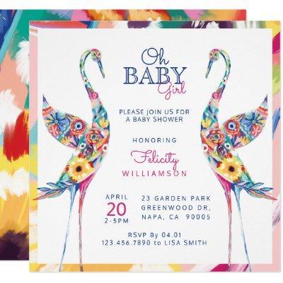 Floral Botanical Stork Baby Girl Shower Invitation