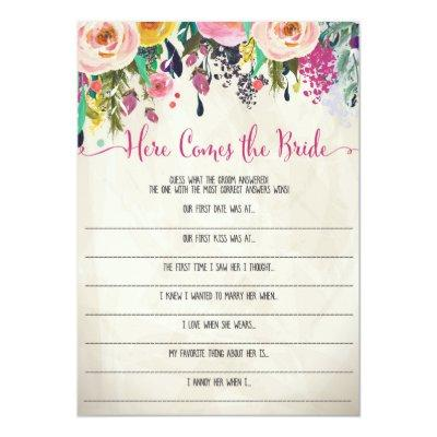 Floral Bridal Shower Here comes the bride game Invitations