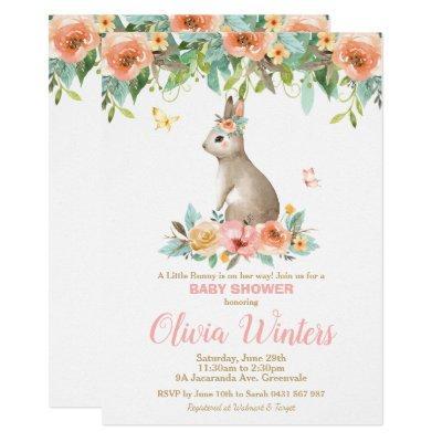 Floral Bunny Rabbit Baby Shower Woodland Baby Girl Invitation