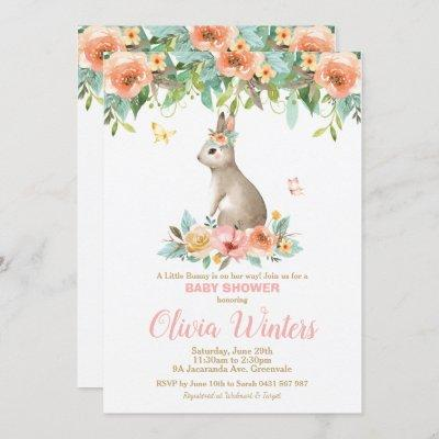 Floral Bunny Rabbit Baby Shower Woodland Baby Girl Invitation
