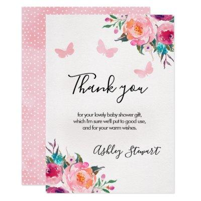 Floral Butterflies Baby Shower Thank You Card Girl