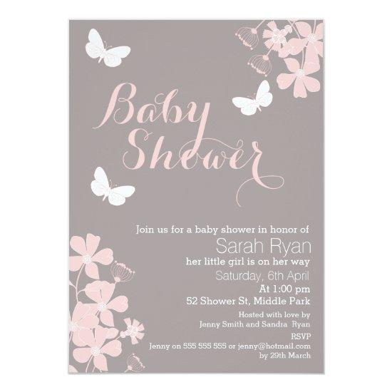 Floral Butterflies Girls Invitations