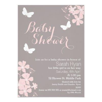 Floral Butterflies Girls Baby Shower Invitations