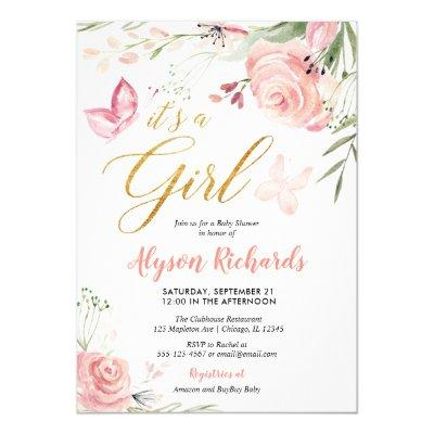 Floral butterfly girl baby shower Invitations