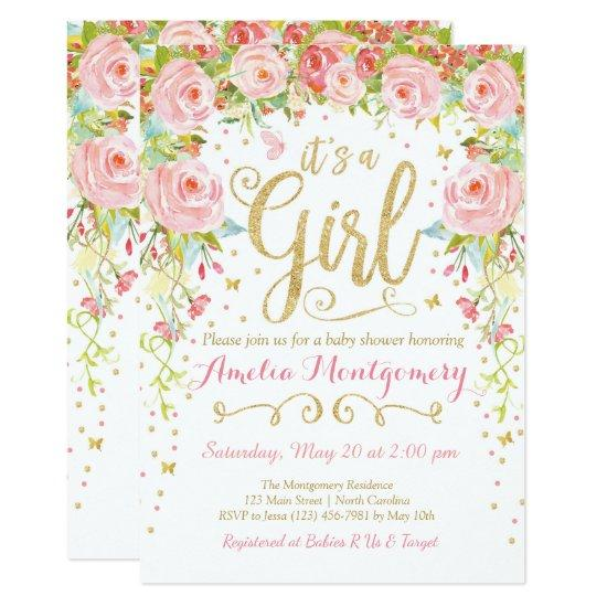 Floral Butterfly Girl Baby Shower Invitation