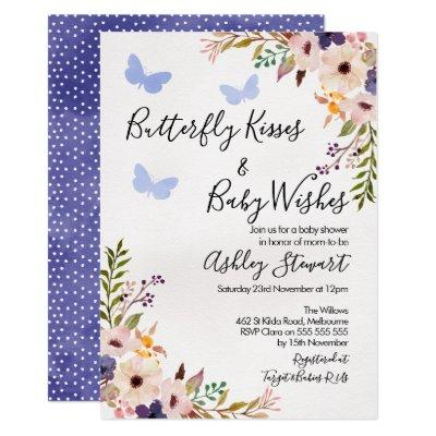 Floral Butterfly Kisses Baby Shower Invitations Boy