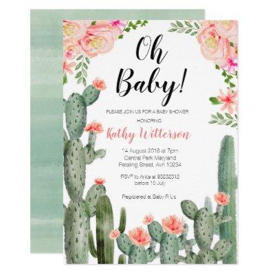 Floral Cactus Succulent oh baby shower invitation