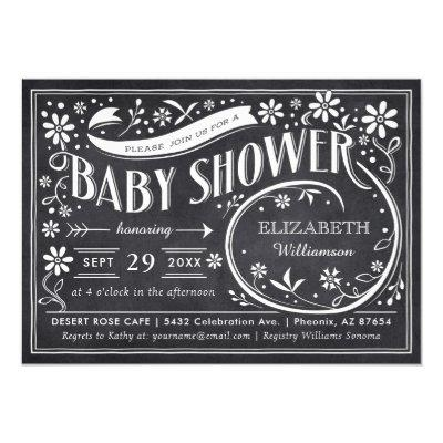 Floral Chalkboard Baby Shower Invitations