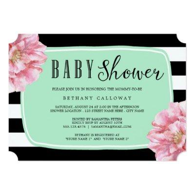 Floral Chic Baby Shower Invitations / Mint