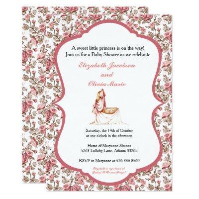 Floral Cradle Baby Shower Invitation Pink Girl