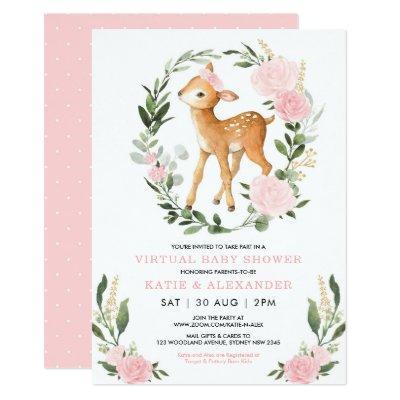 Floral Deer Woodland Greenery Virtual Baby Shower Invitation