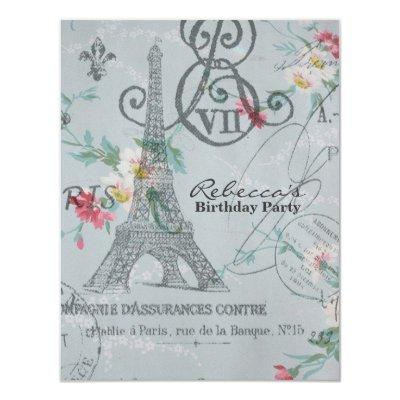 Floral Paris Princess Baby Shower Invitations