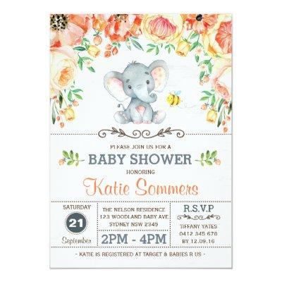Floral Elephant Baby Shower Autumn Fall Invitations