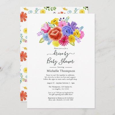 Floral Fiesta Drive By Bridal or Baby Shower Invitation