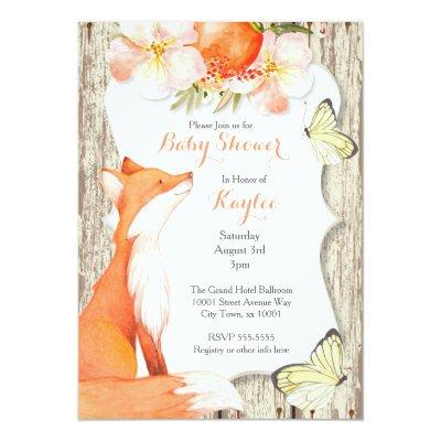 Floral Fox & Butterfly Invitations