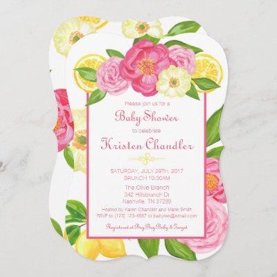 Floral Garden Lemon Girl Baby Shower Invitation