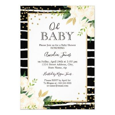 Floral Gold Black White Oh Baby Shower Invitations