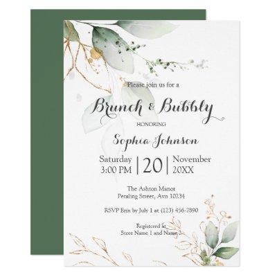 Floral Green Gold Brunch & Bubbly Bridal Shower Invitation