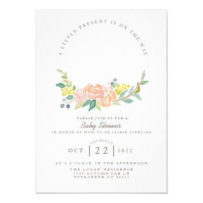 Floral Hoop Watercolor   Feminine Baby Shower Invitation