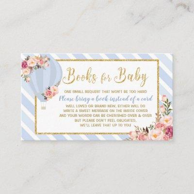 Floral Hot Air Balloon Baby Boy Bring a Book Enclosure Card