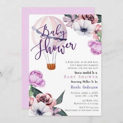Floral Hot Air Balloon Baby Shower lavender purple Invitation