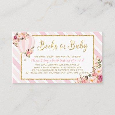 Floral Hot Air Balloon Bring a Book Pink Baby Girl Enclosure Card