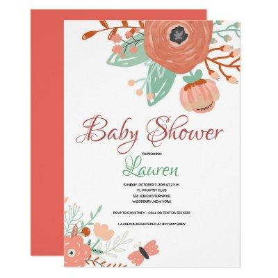 Floral in Coral Baby Shower Invitation