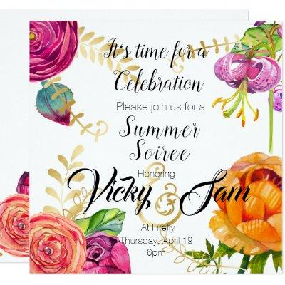 floral invite brunch party shower birthday