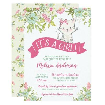 Floral Kitty Girl Baby Shower Invitation