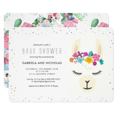 Floral Llama Baby Shower Invitations