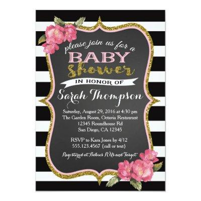 Floral Pink Black and White Baby Shower Invitations
