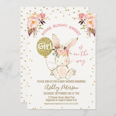 Floral Pink Gold Bunny Baby Shower invitation