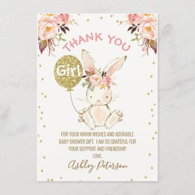 Floral Pink Gold Bunny Baby Shower Thank You Card