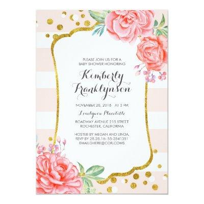 Floral Pink Stripes Gold Confetti Baby Shower Invitations