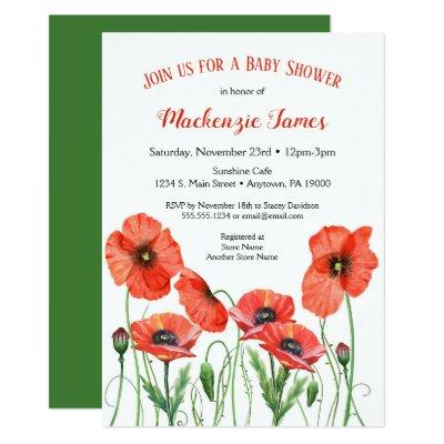 Floral Poppies Baby Shower Invitation Neutral