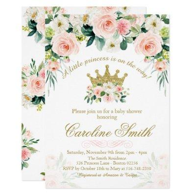 Floral Princess Gold Crown Baby Shower Invitation