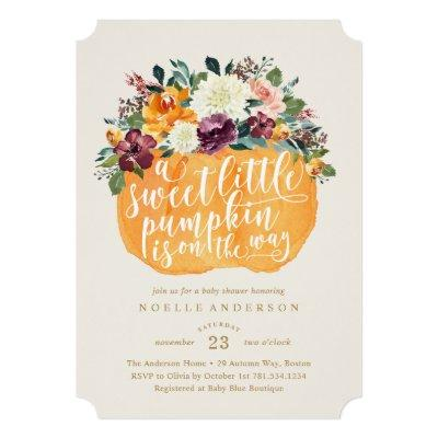Floral Pumpkin Baby Shower Invitations