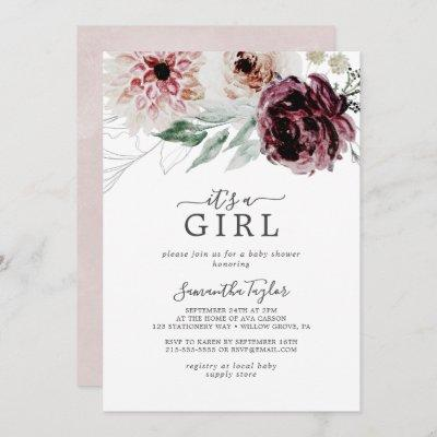 Floral Romance It's A Girl Baby Shower Invitation
