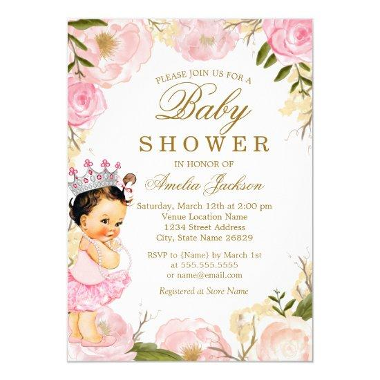 Floral Rose Baby Princess It's a Girl Baby Shower Card