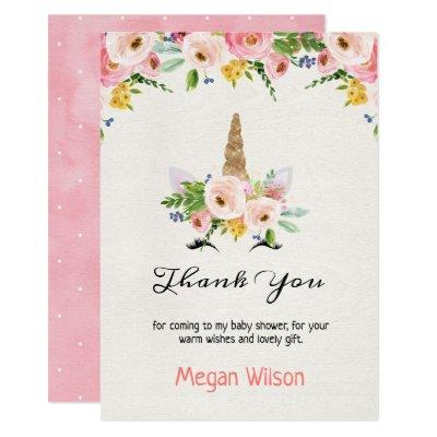 Floral Roses Unicorn Baby Shower Thank You Card