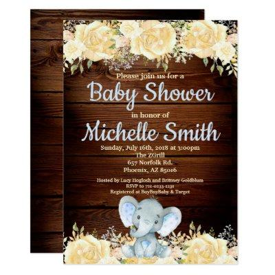 Floral Rustic Blue Boy Wood Elephant Baby Shower Invitations