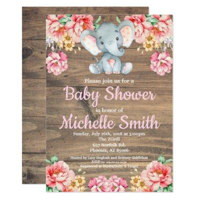 Floral Rustic Pink Girl Wood Elephant Baby Shower Invitations
