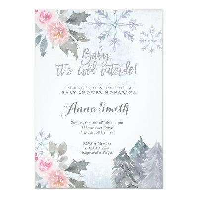 Floral Snowflakes Winter Baby Shower Invitation